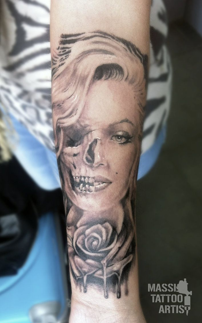 Marilyn monroe tattoo by masshi128 on deviantart make for Marilyn monroe skull tattoos