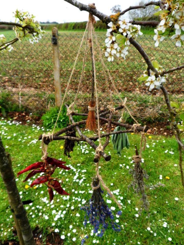 My handmade Rustic Oak twig Witch Kitchen Herb Hanger positivelypagan.com