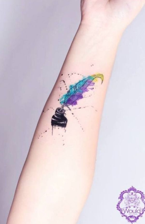 ink watercolor tattoos, feather tattoos, forearm tattoos for girls