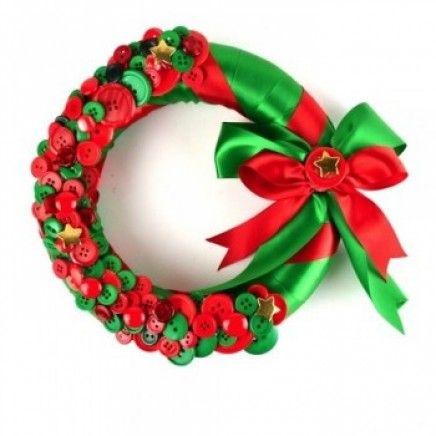 Kerstkrans met knopen en lint
