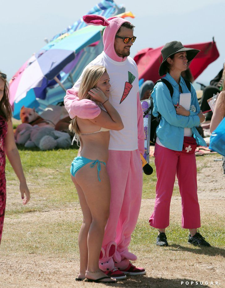 Pin for Later: 11 Things That Happen When Josh Duhamel Dresses as a Pink Bunny He Poses With Girls in Bikinis
