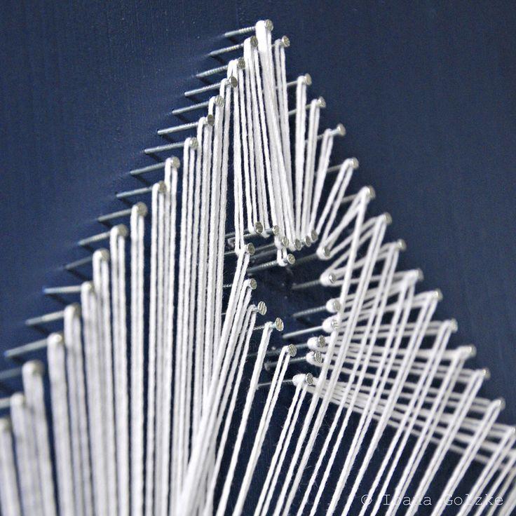 String Art - Haus - Herz - blau weiß - Nägel - Garn