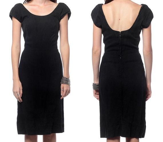 Little Black Dress 60s Cocktail Metal Zipper 1960s by ShopExile, $45.00