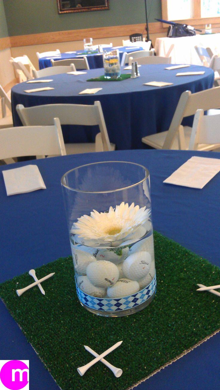 Golf theme centerpiece at post-tournament luncheon! #golf #lorisgolfshoppe