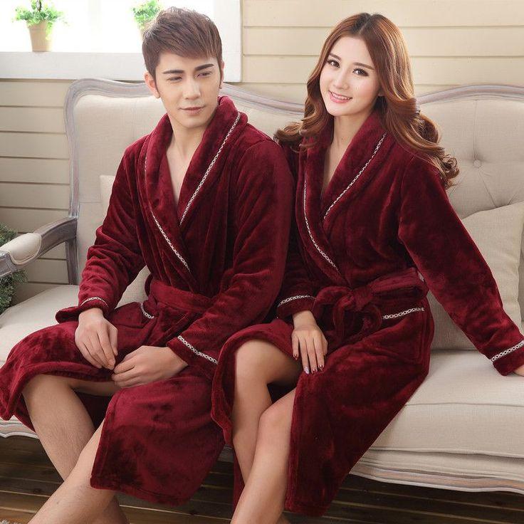 Winter Women thick Flannel Bathrobe Traditional Bath Robes High Quality Women sleepwear homewear Couple lounges pajamas 102704 #Affiliate
