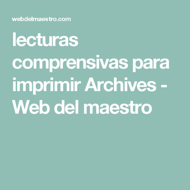 lecturas comprensivas para imprimir Archives - Web del maestro