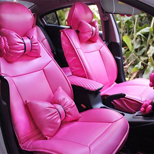 Charming Hot Pink Bowknot Universal Car Seat Covers Front And Rear Leather Include 4 Neck Waish Cushion