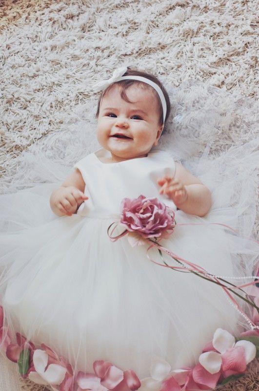 BIMARO Baby Mädchen Babykleid Vivien creme beige Taufkleid Kleid festlich rosa Blüten Tüll Taufe Hochzeit Weihnachten – Bild 3