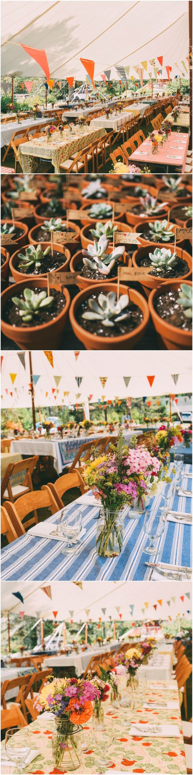 Camp wedding, outdoor, DIY, pennant banners, tented reception, mismatched tablecloths, picnic tables, potted succulent favors // Cait Bourgault Photography