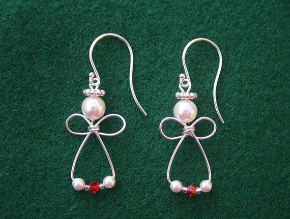 Angel Earrings-Sterling Silver & Red Swarovski crystals on Etsy