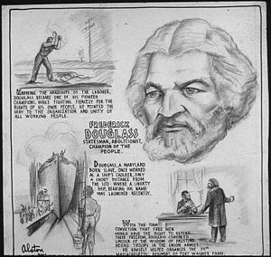 Frederick Douglass - Rochester, NY home & history. Poster from Office of War Information. Domestic Operations Branch. News Bureau, 1943