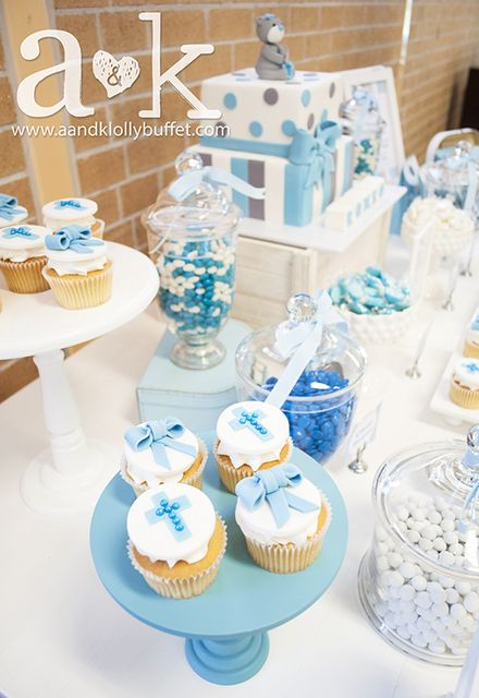 Gorgeous sweets display at a baby boy baptism!  See more party ideas at CatchMyParty.com!  #baptism #partyideas