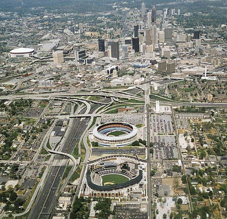 Old school Atlanta.  Shows the Georgia Dome, The Ted and Fulton County Stadium.  Picture was taken about 1996