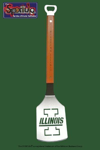 """Sportula Brand Collegiate Series Grill Spatula-University of Illinois by Feld Fire Inc.. $23.50. """"The Sportula is comprised of heavy-duty stainless steel, a hard maple handle with customized word text on the front and back of each handle, brass rivets, and a convenient bottle opener at the end of each handle. All surfaces are polished, with a ground front edge."""" Unique laser-cut design Heavy-duty stainless steel Hard maple handles with durable brass rivets Conven..."""