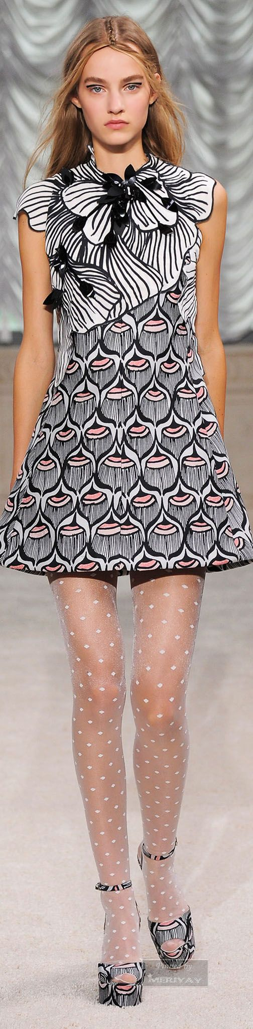 Giamba. Spring 2015. Very clever use of pattern, and I love the lightweight polka dot tights. Transfer the ideas from the catwalk to your home interiors. See more ideas on the blog at YasminChopin.com