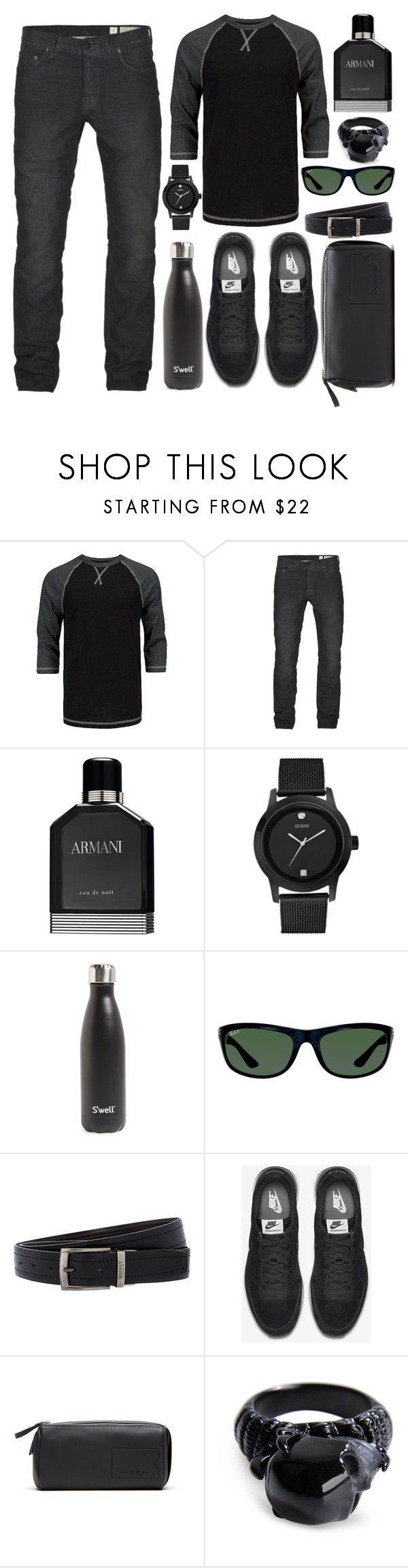 """""""Men's Black Out"""" by cindy-for-fashion ❤ liked on Polyvore featuring BKE Vintage, AllSaints, Giorgio Armani, GUESS, S'well, Ray-Ban, Osprey, NIKE, Lacoste and Alexander McQueen"""