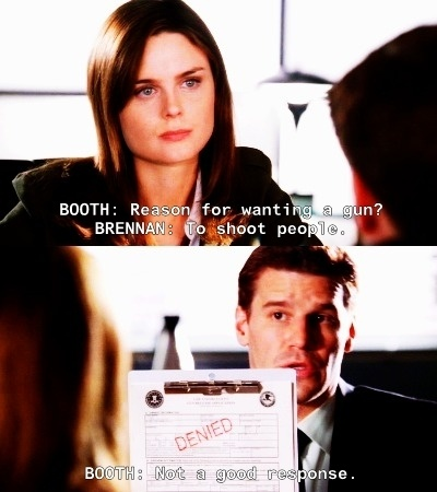 A Booth/Brennan moment booth: name of arresting officer bones: you booth: I need the name bones: Seeley booth need me to spell that? Booth: I can sound it out