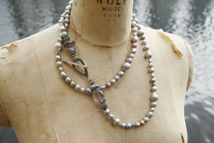Freshwater pearls with a marcasite toggle