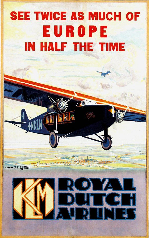 """""""KLM Europe in half the time"""" Poster, Design Charles C. Dickson, 1928"""