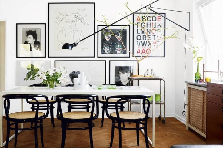 dining chairs + gallery wall + that sconce!