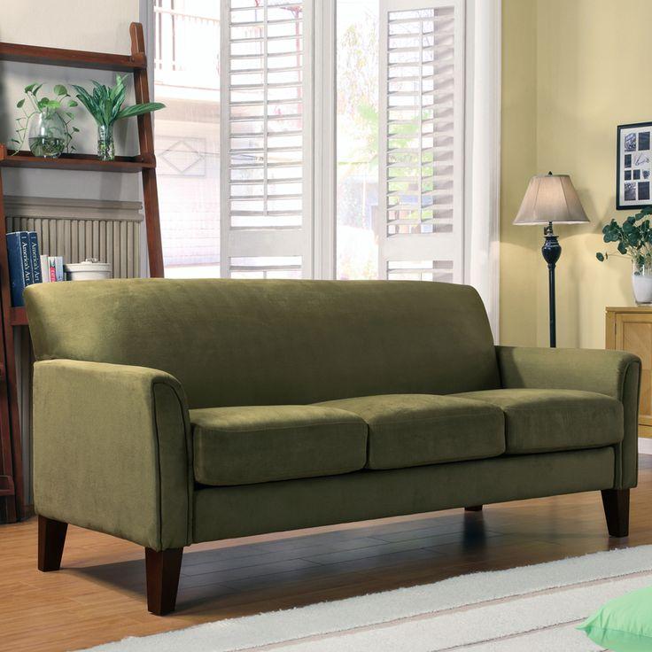 Modern Microfiber Sectional Sofa: TRIBECCA HOME Uptown Sage Microfiber Suede Modern Sofa By