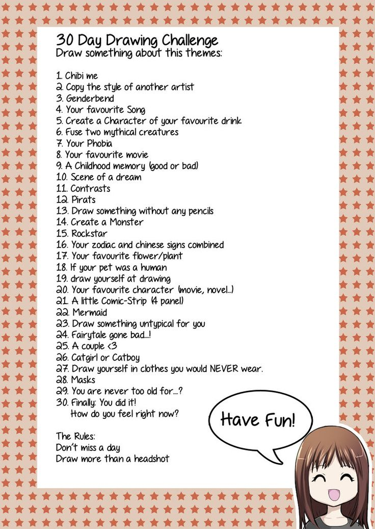 I made a Sheet for my 30 Day Drawing Challenge   My Challenge started on May 1st. How about you? Challenge Accepted? Feel free to use the sheet for your Challenge. My Challenge (descriptions i...