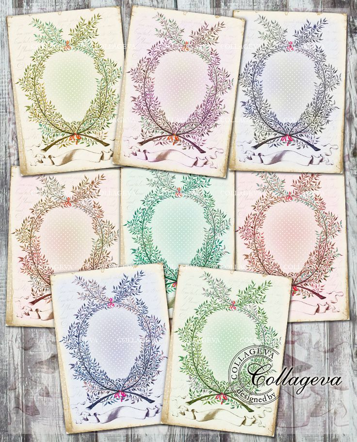 Leafy Frame Digital Cards ACEO ATC Tag, Printable Background, Vintage Wreath Label Ephemeras, Pale Green Blue Red Purple Polka dot (T012-a) by collageva on Etsy