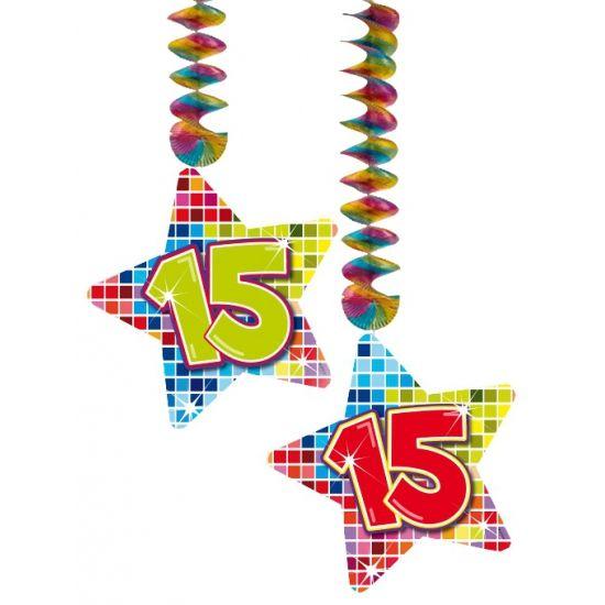 Hangdecoratie sterren 15 jaar. Hangdecoratie in de vorm van sterretjes met het getal 15. De decoratie is verpakt per 2 stuks en is ongeveer 13,3 x 16,5 cm groot.