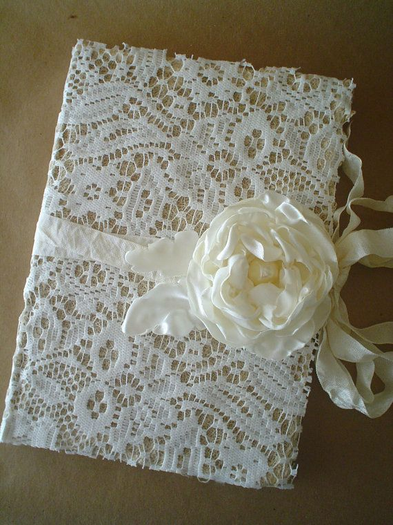 Shabby Lace Journal Diary Notebook Guestbook Handmade Satin Flower