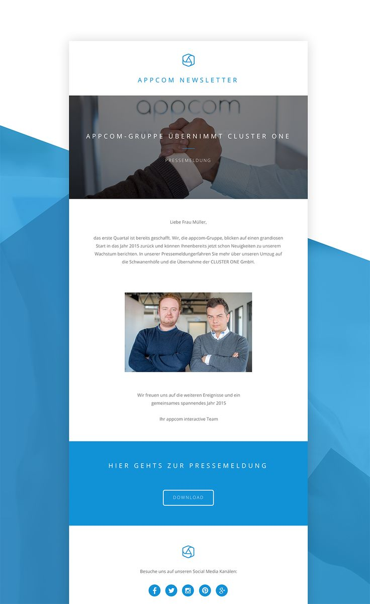 newsletter design | press release | e-mail design | blue and white | appcome newsletter | appcome interactive | duesseldorf