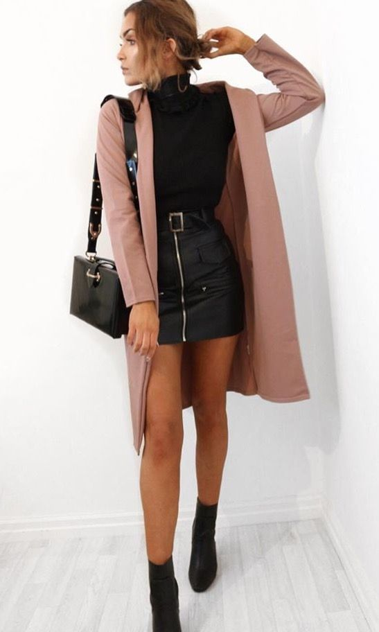 Pink coat with black leather mini skirt and black turtleneck and black leather a... 3
