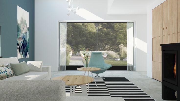 Modern scandinavisch interieur met vide en houtkachel for Interieur advies