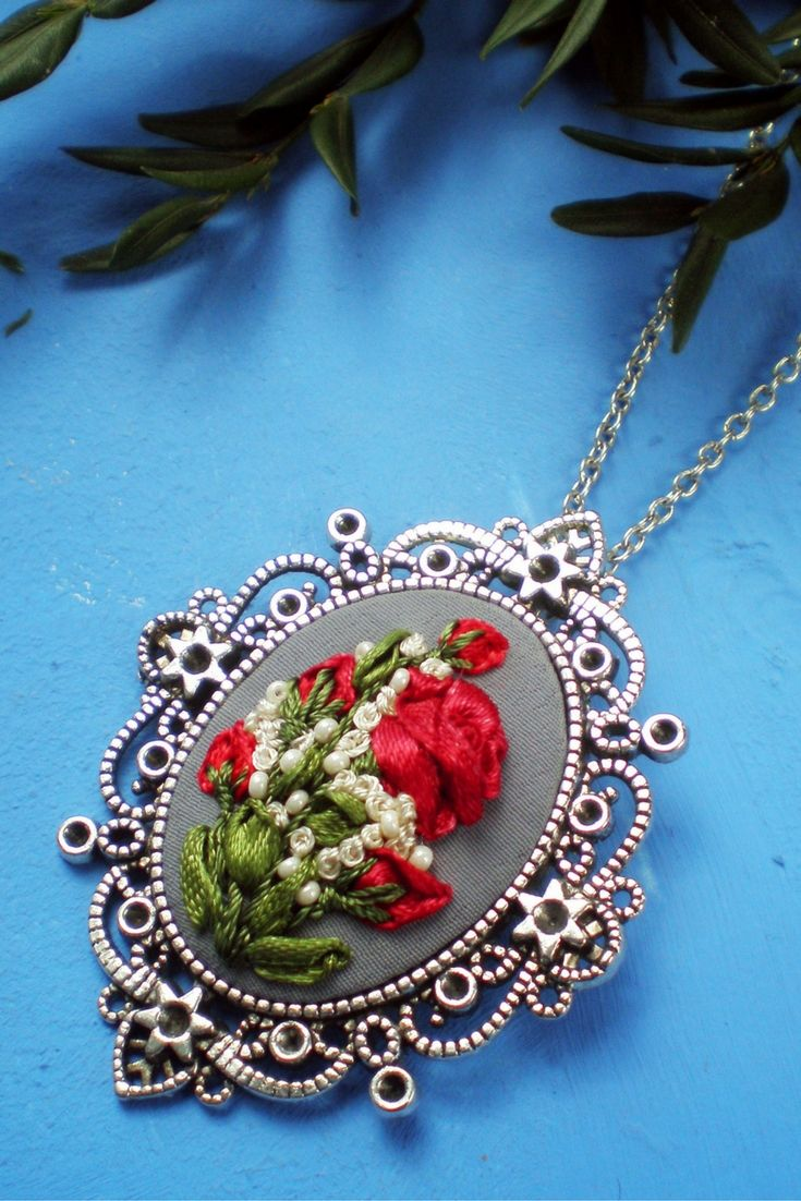 Silk ribbon embroidery red flower pendant Bouquet embroidery deep red rose set necklace red grey oval boho pendant bridemaid rustic jewelry