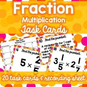 This set includes 20 task cards on multiplication of fractions and a recording sheet with answer key.* Word problems and mixed numbers are included.Perfect for math centers or independent work.Minimal prep (only cutting). Laminate for extended use!