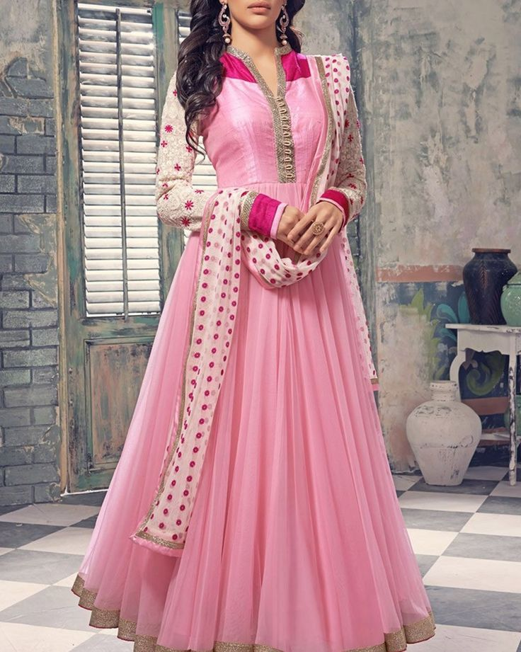 Look glamorous in long floor length Anarkali salwar suits made on georgette, net, rawsilk fabric variants for weddings, festivals and parties. Shop Here: http://bit.ly/2a5nYIu