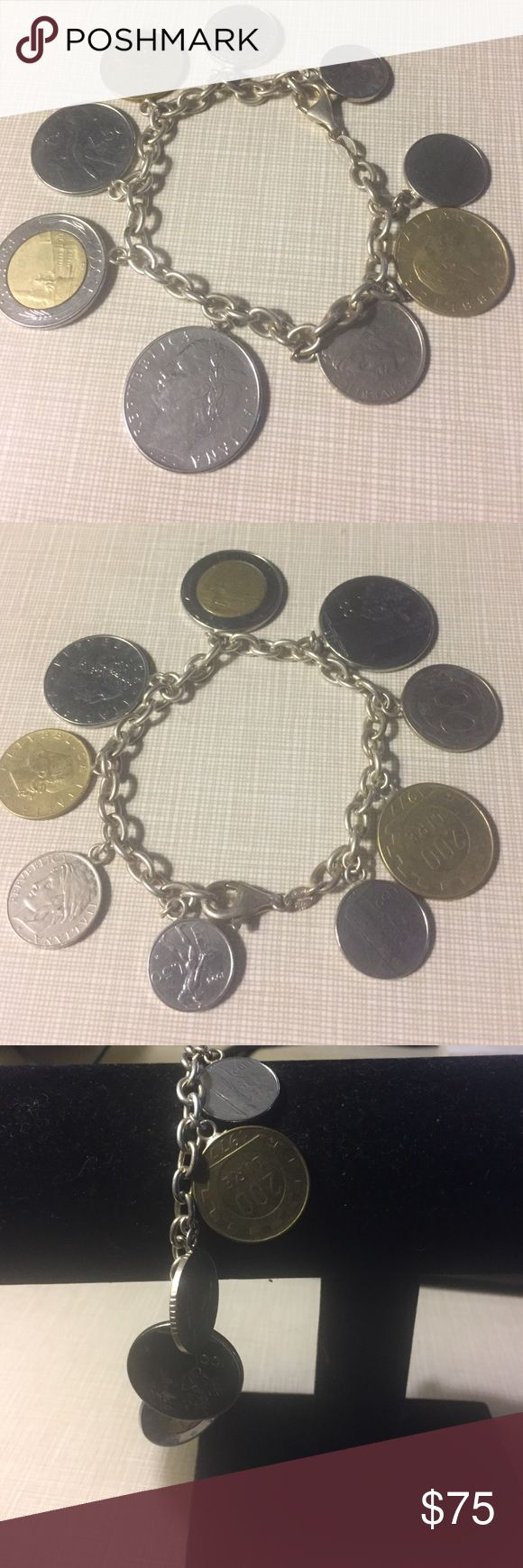 """Sterling silver 925 lira coins ITALY read below Second one for sale pls see comments and 5 stars ratings on """" my about""""  pls check on each closet before buying.  This pretty bracelet is 8' long silver stamped 925 unique NEW from Italy lobster clasp  unique because the lira was replaced for the euro Jewelry Bracelets"""