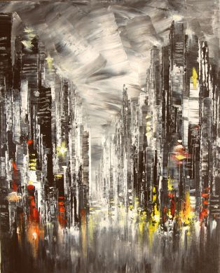 Original Palette knife Cityscape Painting.  Sides of the canvas are painted black and can hung with or without frame. Protective coat of satin varnish applied. The painting is signed on the front and the back and delivered directly from my studio. Certificate of authenticity is provided.