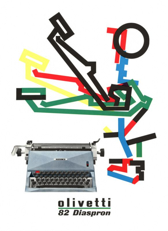 Giovanni Pintori, poster for the olivetti 82 diaspron, c. 1958. A schematic diagram depicting a typewriter key's mechanical action combines witha  photograph to communicate two levels of information.