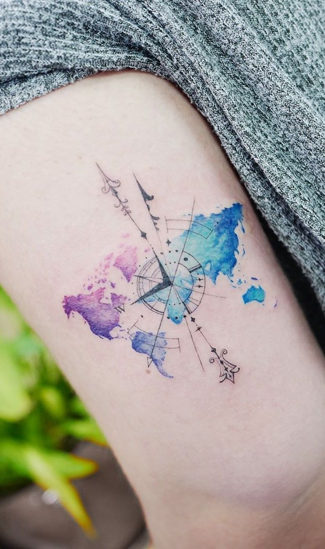 Watercolor Tattoos Will Turn Your Body into a Living Canvas - KickAss Things | Compass tattoo, Tattoos, Compass tattoo design