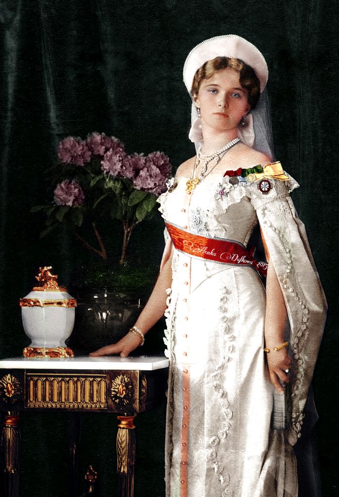 """"""" Her Imperial Highness Grand Duchess Olga Nikolaevna of Russia (1895 - 1918), eldest daughter of Emperor Nicholas II, posing in a full court dress at the occassion of 300 years of the Romanov..."""