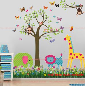 Monkey Owls Tree Jungle Animal Butterflies Wall Stickers Baby Nursery Kids Decal