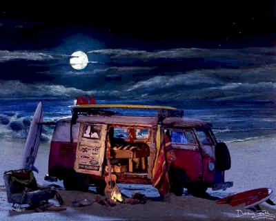 VW Bus Art Print Poster Painting ~Volkswagen microbus van beach campfire picture