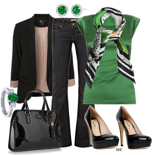 """""""Emerald"""" by coombsie24 on PolyvoreEmeralds, Colors Combos, Offices Style, Green, Night Outfit, Jeans Outfit, Fashion Looks, Business Casual, Work Attire"""
