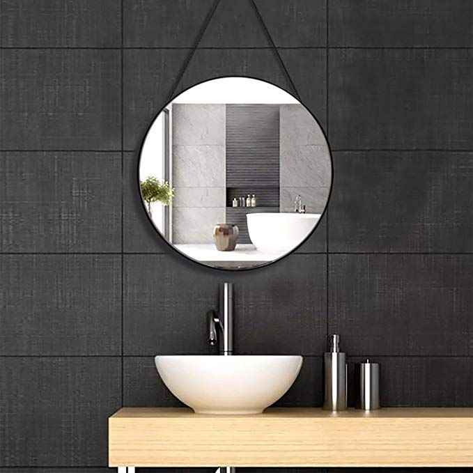 Simmer Stone 20 Round Mirror With Hanging Chain Thin Metal Framed Decorative Wall Mirror Wall Mount Hoo Mirror Wall Decor Round Mirror Bathroom Mirror Wall