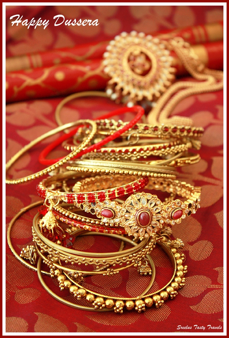 Indian bridal bangles gold red