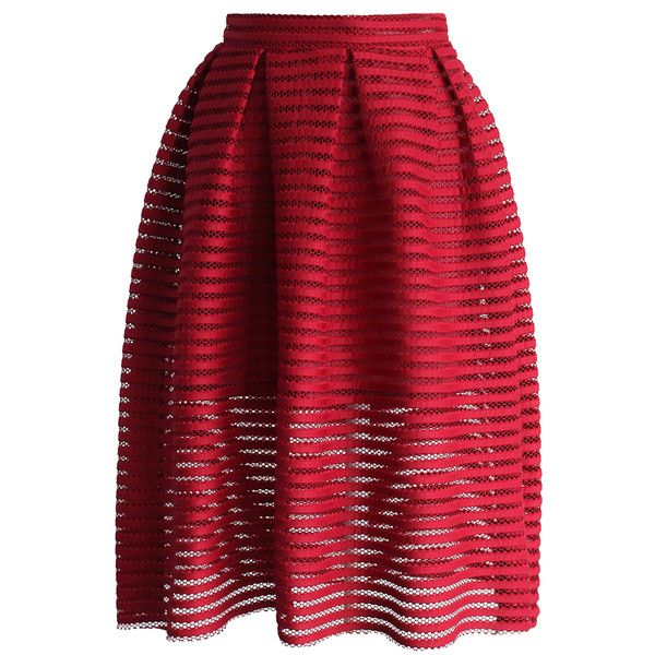 Chicwish Glam Stripes Cutout Midi Skirt in Red ($39) ❤ liked on Polyvore featuring skirts, red, red knee length skirt, striped skirt, calf length skirts, pleated skirt and red pleated skirt