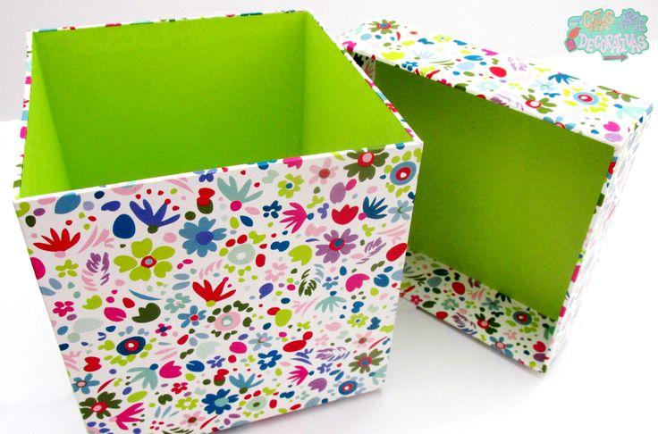Caja mediana con papel de diseño blanco floral intenso con papel interior verde limón ideal para cualquier detalle !