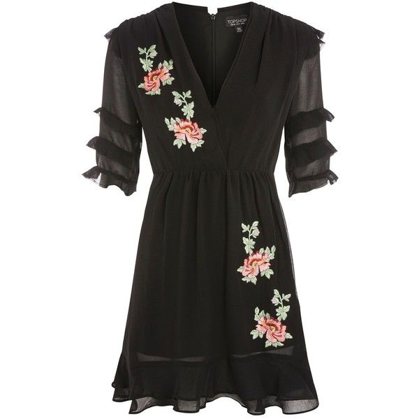 Topshop Floral Embroidered Tea Dress featuring polyvore, women's fashion, clothing, dresses, topshop, black, tea-length dresses, tea party dresses, floral embroidery dress, floral embroidered dress and topshop dresses
