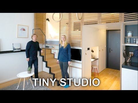 Tiny Studio Apartment - Sleeping Loft and Moving Staircase (Zoku) - YouTube