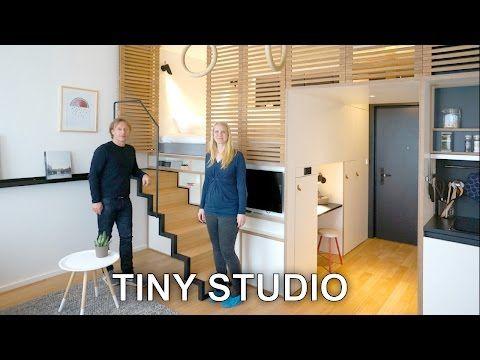 Tiny Studio Apartment - Sleeping Loft and Moving Staircase (Zoku) - YouTube